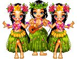 Three animated hula dancers in grass skirts dancing with ukulele Happy Birthday Dancing, Funny Happy Birthday Song, Happy Birthday Pictures, Birthday Songs, Happy Birthday Greetings, Happy Dance, Cartoon Gifs, Animated Cartoons, Animated Gif