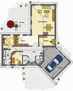 ▷ Bungalow B . Small House Floor Plans, My House Plans, Bungalows, Villa Design, House Design, Architectural Floor Plans, Large Homes, Planer, Tiny House