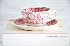 Vintage Cup Saucer Red Maisema Arabia Finland
