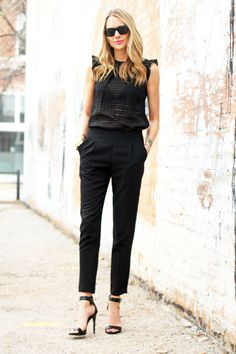 Black Sheer Top // Black Pants