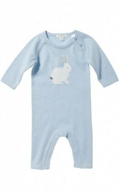 Purebaby knitted grow suit powder blue bunny | fashion deli children's clothing & accessories