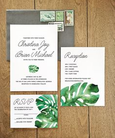 Love these Watercolor Monstera Wedding Invitations by 622press on Etsy