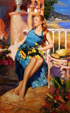 Vladimir Volegov Restful Afternoon painting is shipped worldwide,including stretched canvas and framed art.This Vladimir Volegov Restful Afternoon painting is available at custom size. Woman Painting, Figure Painting, Painting & Drawing, Vladimir Volegov, Kunst Inspo, Illustration Art, Illustrations, Russian Art, Beautiful Paintings