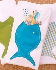 Towel Favors  Send guests home with this fish towel, made by you. The best part is, you can stuff the fish's mouth with candy, treats, and fun surprises.