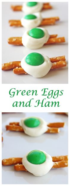 Green Eggs and Ham Pretzels - The Girl Who Ate Everything - - Green Eggs and Ham Pretzels - A little twist on Green Eggs and Ham. A cute treat for St. Patrick's Day or Dr. Suess' birthday made from pretzels, white chocolate, and M&Ms. White Chocolate Candy, Chocolate Candy Melts, Cute Food, Good Food, Yummy Food, Green Eggs And Ham, Cupcakes, In Kindergarten, Kids Meals