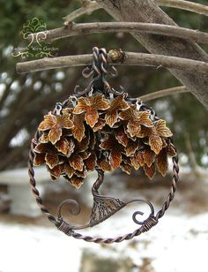 Maple Autumn Fall Tree of Life Wire Wrapped Pendant Jewelry