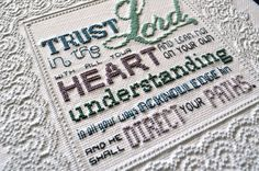 Trust in the Lord Cross-Stitch Pattern by SnoflakeStitchery Cross Stitch Quotes, Cross Stitch Pictures, Cross Stitch Heart, Trust, Corner To Corner Crochet, Lord, Embroidery Needles, Dmc Floss, Back Stitch
