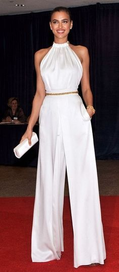"High-Waist Pant | Halter Top | Skinny Belt | ~COLORS: White & Gold~ | {Chic} ""Looks like a jumpsuit!"""
