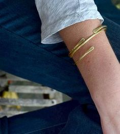 Brass Cuff Bracelet - Set of 2
