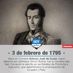 #UnDíaComoHoy nace Antonio José de Sucre, prócer de la independencia americana, así como presidente de Bolivia.