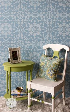 Add a sweet feature wall to your nursery decor or paint the top of your table with Chalk Paint and this romantic Grand Floral Lace Tile Stencil. - Details - Stencil Ideas - How To Stencil - Stencil Ad