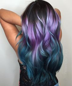 purple and blue ombre hairYou can find Mermaid hair and more on our website.purple and blue ombre hair Teal Hair, Hair Color Purple, Hair Color And Cut, Hair Dye Colors, Purple Haze, Cool Hair Color, Purple Ombre, Ombre Hair Rainbow, Wild Hair Colors