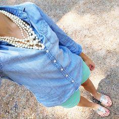 chambray shirt, mint shorts, pearls, silver jack rogers