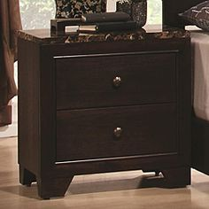 @Overstock - You'll have a handsome companion for your bedside with this nightstand. The piece carries a dark walnut finish and features brushed nickel round knobs as well as bracket feet for a balanced appearancehttp://www.overstock.com/Home-Garden/Baldovino-Faux-Marble-Top-Capuccino-Nightstand/6450465/product.html?CID=214117 $168.99