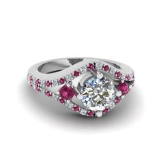 0.75 Carat Round Diamond Split Halo Affordable Engagement Rings with Pink Sapphire in 18K White Gold exclusively styled by Fascinating Diamonds