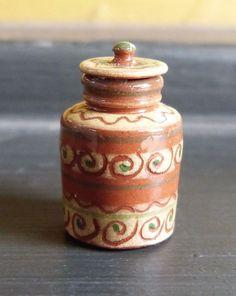 Jane Graber Miniature Dollhouse Redware Sgraffito Tobacco Jar 1 12 Scale | eBay