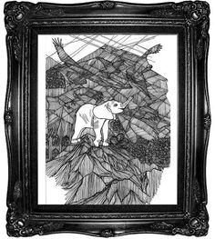 Elephant Peak Line Drawing Print  Black and White by dproject