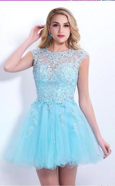 Blue lace homecoming dress, Sexy homecoming dress, short homecoming dresses,homecoming dress, short prom dresses, by prom dresses, $152.00 USD