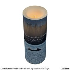 Custom Memorial Candle Fishermen Silhouette - This custom flameless memorial LED Candle is decorated with our original photograph of a silhouette of two fishermen in a boat at sunset. Easy to personalize, just change or delete example text. Original photograph by Marcia Socolik. Flameless memorial candle is available in 3 sizes. All Rights Reserved © 2015 Alan & Marcia Socolik.