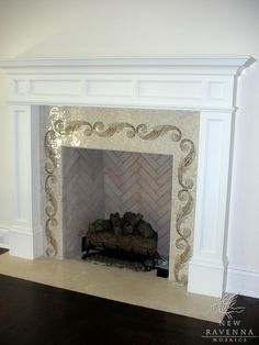 Caesar Scroll Fireplace Surround In Brown U0026 Cream Polished Marble   New  Ravenna Mosaics