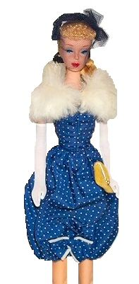 """Vintage Barbie Gay Parisienne #964 (1959)    Navy Pin dot Bubble Dress  Navy Headband Hat with Veil  White Fur Stole with White Lining  Gold Velvet Clutch Purse  Graduated Pearl Necklace  Pearl Stud Earrings  Long White Gloves  Navy Open Toe Heels    While I am quite happy that the """"Bubble Dress"""" hasn't come back into style, it was quite chic in the late 50s. Obviously inspired by Parisian couture, this ensemble is rare and hard to find, as it was only produced in 1959.    The dress is deep b..."""