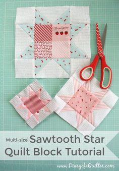 Sawtooth star quilt block tutorial, Thanks so xox ☆ ★   https://uk.pinterest.com/peacefuldoves/