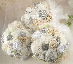 Brooch  Bouquet Jeweled Bouquet in Ivory and White by SolBijou, $210.00