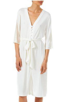 Tata Italian Knee Length Jersey Robe with Mesh Inserts - Ivory or Pink Pyjamas, Pjs, Jersey Shorts, Italian Style, Covered Buttons, Nightwear, Hemline, Kimono, Short Sleeves