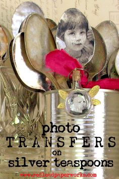 DIY Photo-Transfers onto silver spoons--because when I eat yogurt, I want to think of my loved ones. Silverware Jewelry, Spoon Jewelry, Jewelry Rings, Silver Jewelry, Flatware, Jewellery, Spoon Necklace, Metal Jewelry, Diamond Jewelry