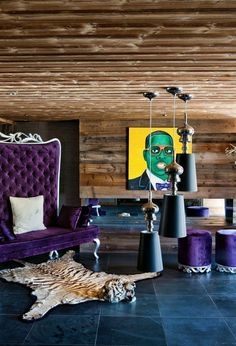 Amazing Chalet Design Architecture with Wood Dominant: Stylish Foyer Design Purple Sofa One Oak Chalet