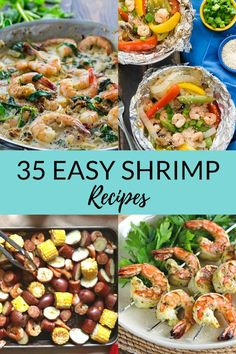 35 delicious shrimp recipes that are perfect for quick (yet impressive) dinners. From shrimp pasta to BBQ shrimp to classics like shrimp cocktail and shrimp scampi, we have you covered with these amazing recipes! My family loves the grilled shrimp tacos! Shrimp Taco Recipes, Pork Rib Recipes, Shellfish Recipes, Grilling Recipes, Grilling Tips, Cajun Recipes, Shrimp Dishes, Shrimp Pasta, Shrimp Tacos