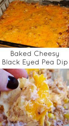 Baked Cheesy Black Eyed Pea Dip