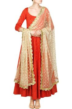 Anarkali, Clothing, Carma, Candy red floral anarkali with fully embroidered dupatta set ,  ,  ,  ,  ,  ,  ,  ,  ,  ,  ,  ,  ,