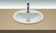 Cima, lavabo económico para aplicaciones funcionales en espacio privados o públicos. Con rebosadero. Plantilla de corte 50,5x38,5.