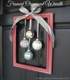 Easy, DIY Framed Ornament Wreath - tutorial - Welcome Home Tour - #wreath #diy #ornamentwreath artsychicksrule.com