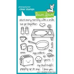 Lawn Fawn - Clear Photopolymer Stamps - Love 'n Breakfast Science Of Love, We Go Together, Lawn Fawn Stamps, Stud Muffin, Tampons, Copics, Digital Stamps, Love S, Clear Stamps