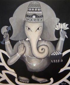 Ganesh Painting - Acrylic, Swarovski crystals on canvas.