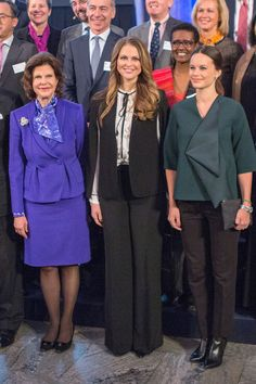 Queen Silvia, Princess Madeleine, and Princess Sofia of Sweden attend the Global Child Forum at the Hall of State in the Royal Palace. - TownandCountryMag.com