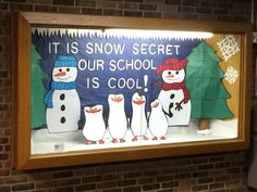 Display case winter board 3-D. Features the penguins from Madagascar. Created by The Bulletin Board Queen.