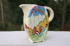 An Immaculate Clarice Cliff Bonjour Shape Jug in Moonlight Pattern Circa 1933