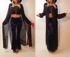 ✿Add a layer of gorgeousness to your outfit with this beautiful Stevie Nicks gypsy style long sheer kimono jacket, featuring intricate and eclectic floral beading details throughout. It works wonderfully as a jacket, but also as an elegant flair to top off a maxi dress, camisole with jeans + velvet bottoms, or any outfit for an alluring gypsy vibe! This will look lovely on all women size S to XL. Great for stage! Draped fit designed to be worn open or hooked at neckline. Excellent vintage…