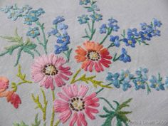 Vintage Hand Embroidered Irish Linen Tablecloth  Pink Blue Florals