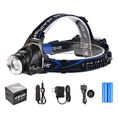 3 modes Waterproof LED Headlamp with Telescopic focusing 1800 Lumens light with Rechargeable Batteries Wall Charger Car Charger and USB Cable Included * Click image for more details.(This is an Amazon affiliate link)