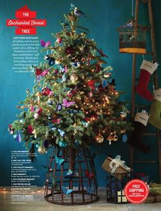 DIY wire bushel basket christmas tree stand featured in west elm catalog