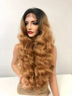 """Brown Brunette Ombre Wavy Long Hair Swiss Lace Front Wig 28"""" 