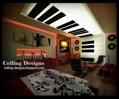 this stretch ceiling design for bedroom is false ceiling , and made from three materials,  the frame is made from solid PVC to install the other ceiling parts and install the lighting spots, the white part of piano is made from flexible PVC , this part hides lighting sources to be illuminating and to make this lighting glow