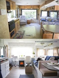 Earlier than & After beautiful DIY camper renovation. Discover more at the picture