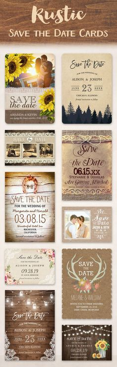 Rustic Save the Date cards give you plenty of ideas to choose from. Elements that represent life in the countryside are used for décor. It is common to find such weddings being held in a ranch, field, barn or the country side. They incorporate various déc Fall Wedding, Perfect Wedding, Our Wedding, Dream Wedding, Wedding Rustic, Trendy Wedding, Rustic Weddings, Wedding Country, Country Weddings