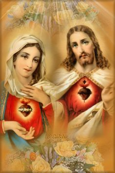 Sacred Heart of Mary prat for us Sacred Heart of Jesus hear our prayer Religious Pictures, Jesus Pictures, Religious Art, Blessed Mother Mary, Blessed Virgin Mary, Madonna, Immaculée Conception, Jesus E Maria, Jesus Christ Images