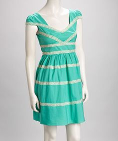Take a look at this Mint Lace A-Line Dress by Minuet on #zulily today! $42.99, regular 102.00
